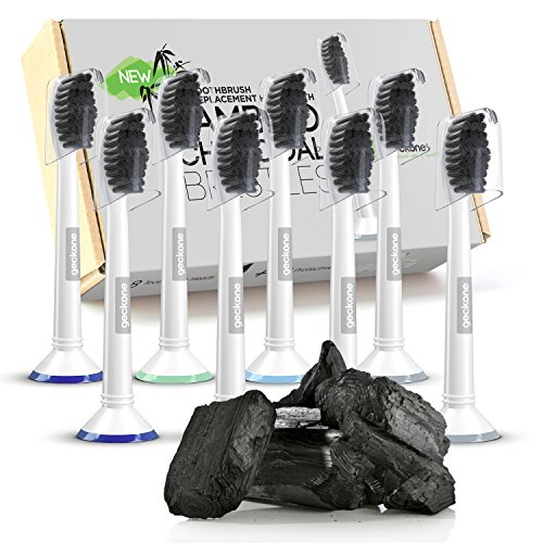 Geckone Sonicare Toothbrush Heads, 8-Pack, Bamboo Charcoal Infused Bristles, Individual Caps Included, Premium Replacement Brush Heads Compatible with Philips ()