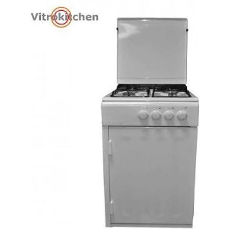 Vitrokitchen CB550PBB-VS - Cocina a gas 4f: 160.24: Amazon ...