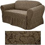 damask chocolate furniture slipcover sofa 578 amazon    corduroy grey full futon cover 19  home  u0026 kitchen  rh   amazon