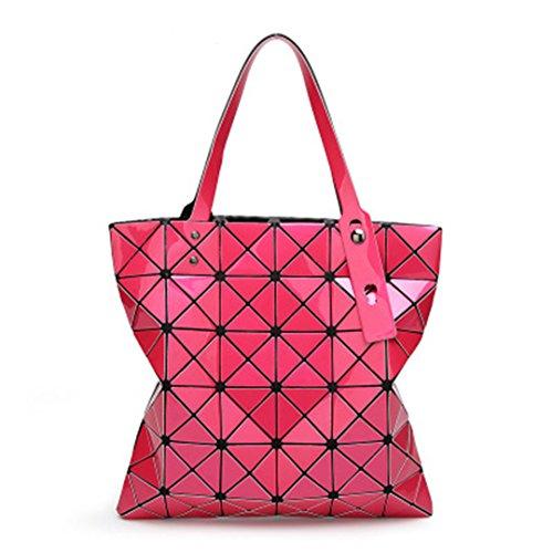 Handbags blue A Bolsos Designer Handle mujeres acolchadas Verano Handbags las de Femeninos Fake 5cm Red Cuadros Rose Diamante 5X32 Geometría Bag Handbags Bolsos Top plegables 32 Láser pcrPpHTR