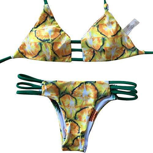 watmaid mujeres Reversible piña impreso Bikinis set de baño Beachwear Pineapple1