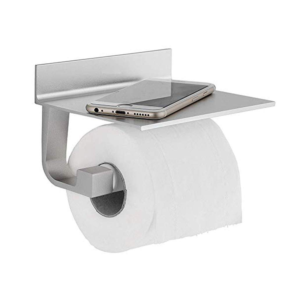 GTG Toilet Paper Holder, Bathroom Tissue Roll Holder with Phone Storage Wall Mounted Shelf,Aluminum (Champagne Gold)
