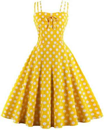 42bcffd92a4 Pevor Women s 1950s Vintage Polka Dots Spaghetti Strap Bowknot Rockabilly  Cocktail Swing Dress