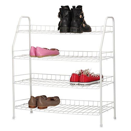 HOUSE DAY Shoe Racks - 4 Tier White - Shoe Organizer Shelving