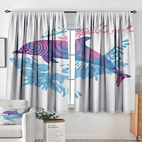 HOMEDECORATIONS Animals Custom Curtains Dolphin Figure with Colorful Patterns Underwater Sea Life Illustration Customized Curtains 72