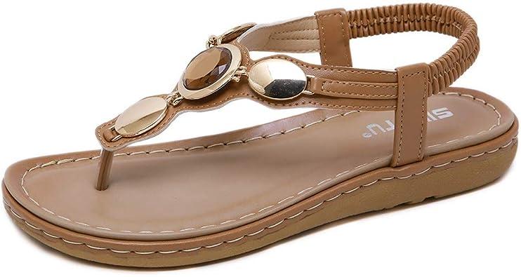 Women Bohemian Rhinestone T-strap Thong Comfort Flat Summer Beach Sandal Shoes