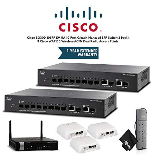 Cisco SG300-10SFP-K9-NA 10-Port Gigabit Managed SFP Switch(2 Pack), 3 Cisco WAP150 Wireless-AC/N Dual Radio Access Points,1 Cisco RV215W Wireless-N VPN Router, 1 Year Extended Warranty and Powerstrip (Na Rv215w A-k9)