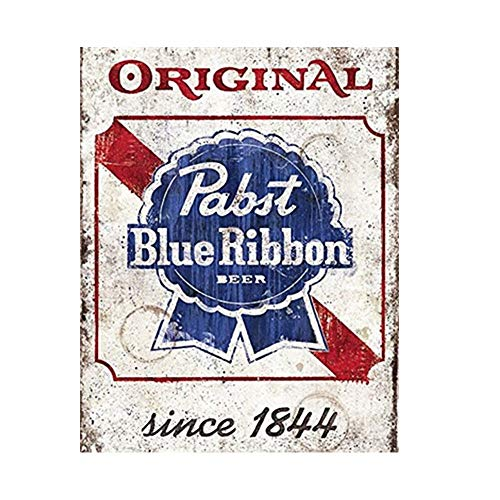 YOMIA Metal Beer Signs for Pabst Blue Ribbon Sign, Decorative Plates for Wall Hanging Beer Retro Metal Tin Signs Poster Home Bar Plate Wall Decor 30x30cm (Ribbon Plates Antique)