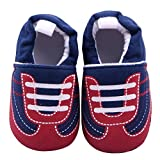 Aivtalk Baby Knitted Cartoon Shoes Laces Printed Soft Crib Shoes Soft Sole Toddler Kids Shoes Size 12 - Dark Blue