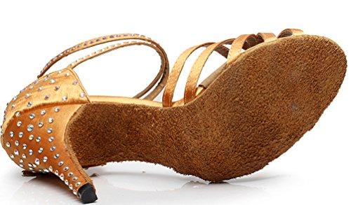 JJ Ballroom Dance 7028 Brown Mid CFP Womens Shoes Latin Heel Tango Satin aBUXwqd