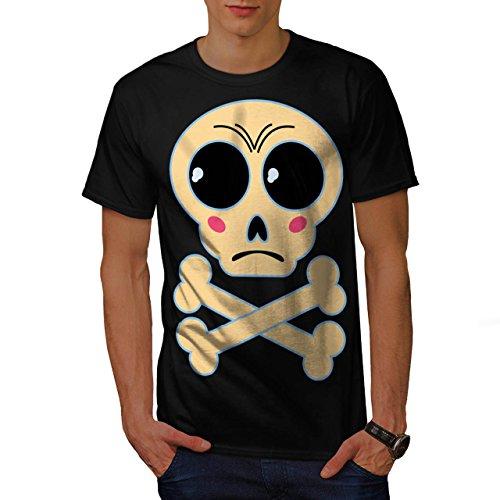[Cute Graphic Print Skull Crossbone Men M T-shirt | Wellcoda] (Regal Rose Print)
