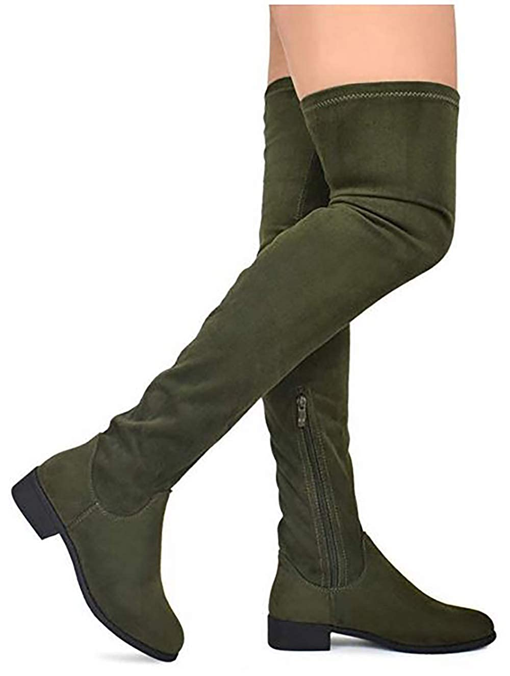 MVE Shoes Womens Fashion Comfy Vegan Suede Block Heel Side Zipper Back Lace Thigh High Over The Knee Boots