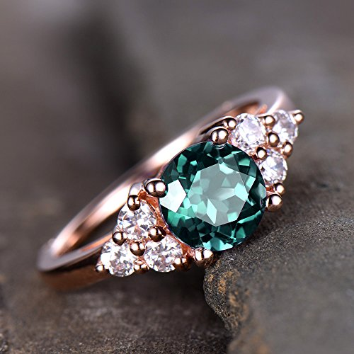que Cluster Engagement Ring Vintage Floral Ring 6.5mm Round Color Change Gemstone Bridal Ring Rose Gold Plated Silver ()