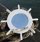 Nagina International 24'' White Ship's Wheel Mirror | Captain's Maritime Beach Home Decor
