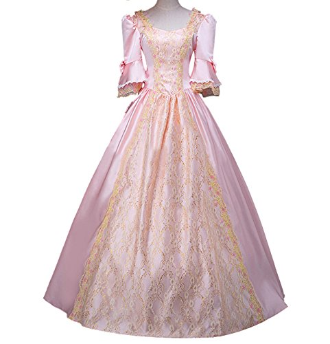 ROLECOS Womens Royal Vintage Medieval Dresses Lady Satin Gothic Masquerade Dress Pink Custom Size