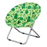 Folding chair / Round folding chair / Moon chair / Lazy sofa chair / Leisure sun chair / Deck chair / Folding chair /Moon chair /Green folding chair / 75 75cm