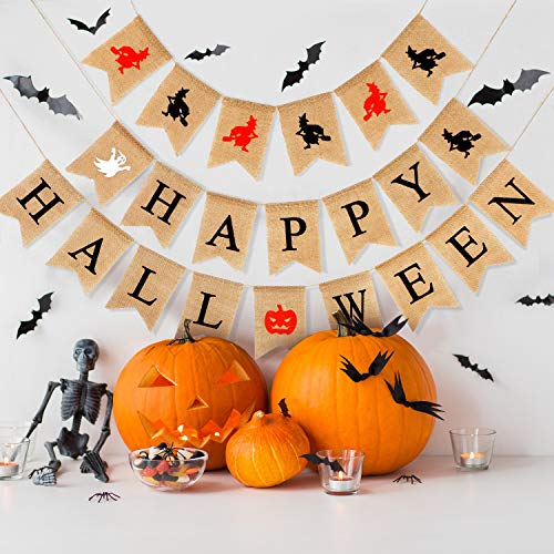 Happy Halloween Banner Halloween Theme Burlap Garland Witch Ghost Pumpkin Bunting Banners for Halloween Party Decoration -
