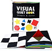beiens Soft Baby Books, High Contrast Black and White Books NonToxic Fabric Touch and Feel Crinkle Cloth Books