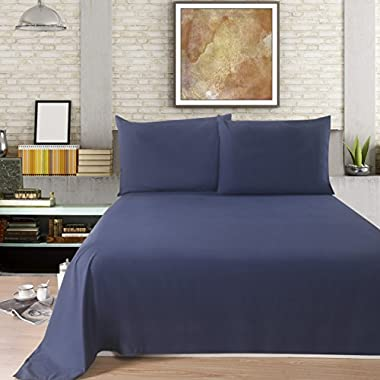Lullabi Linen 100% Brushed Soft Microfiber Bed Sheet Set, Fitted & Flat Sheet & Pillowcases, Cozy Comfortable, Wrinkle, Fade, Stain Resistant, Deep Pockets (Navy, Queen)