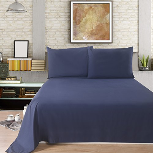 Lullabi Linen 100% Brushed Soft Microfiber Bed Sheet Set, Fitted & Flat Sheet & Pillowcases, Cozy Comfortable, Wrinkle, Fade, Stain Resistant, Deep Pockets (Navy, Full)