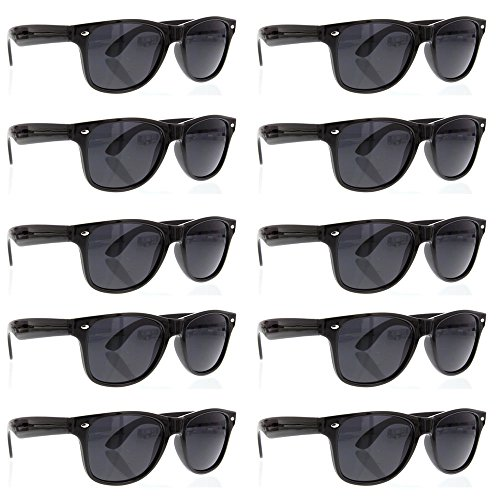 BULK WHOLESALE UNISEX 80'S RETRO STYLE BULK LOT PROMOTIONAL SUNGLASSES - 10 PACK - Men Sunglasses In Black