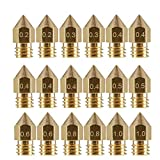 3D Printer Nozzle 18 Pcs MK8 Brass Extruder Nozzle Print Head for 1.75mm Makerbot Creality CR-10 ANET A8 Tevo M6 3D Printer (0.2/0.3/0.4/0.5/0.6/0.8/1.0mm)