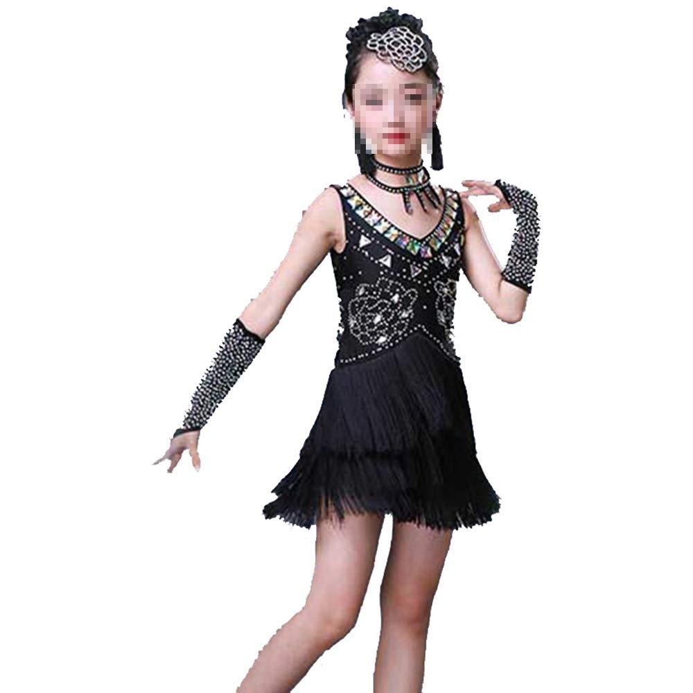 Noir 140cm Tango Dance Robe Outfits Filles Danse Latine Robe Enfants Enfants Paillettes Frange scène Perforhommece compétition Costume de Danse (Couleur   Noir, Taille   130cm)