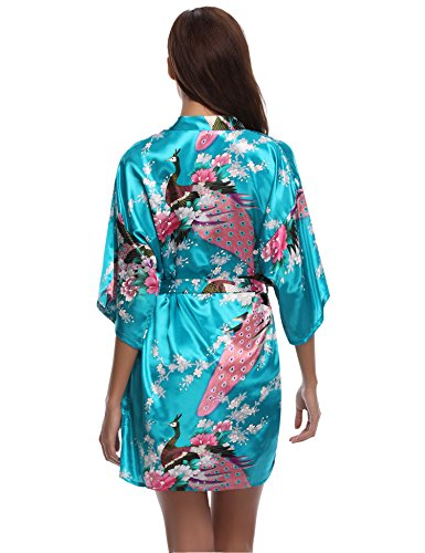 Aibo festa Nuit nuziale Accappatoio di regalo la Abbigliamento Lake Kimono Donna per De Pavone raso Robe Fiori Blue Camicia AZwApqr