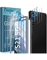 TOCOL Total in 6 Packs Compatible with Samsung Galaxy S21 5G 6.2 inch - 3 Pack Tempered Glass Screen Protector and 3 Pack Camera Lens Protector with Installation Frame HD Clear Case Friendly