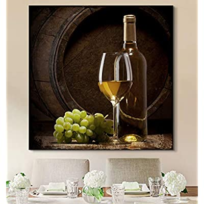 Square Canvas Wall Art - Wine Glass and Bottle with Grapes - Giclee Print Gallery Wrap Modern Home Art Ready to Hang - 12x12 inches