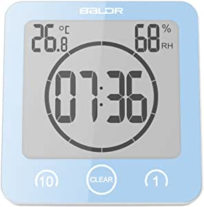 BALDR LCD Waterproof Shower Clock, Blue…
