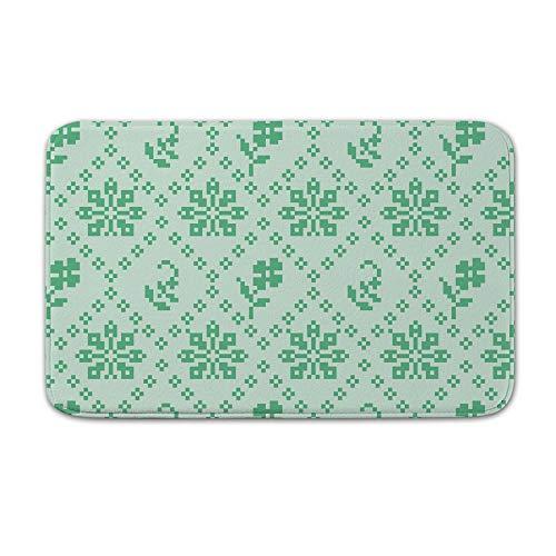 (DKISEE Indoor Outdoor Entrance Rug Floor Mat Bathmat Stitching Green Floral Pattern Doormat, 20