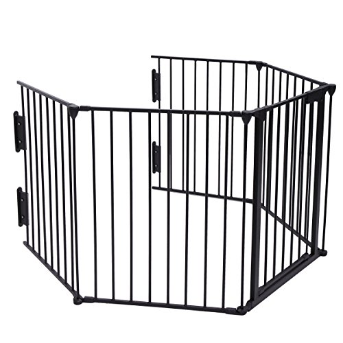 Fireplace Hearth Dimensions (LAZYMOON Black Fireplace Fence Baby Safety Fence Hearth Gate Pet Gate Guard Metal Plastic Screen)