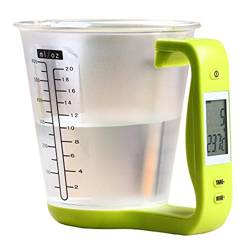 4 in 1 LCD Digital Scale Measuring Cup Coffee Tea Weighing Device with Digital Scale Thermometer Countdown Timer for Household Supplies 1000g Capacity