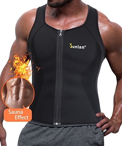 Junlan Men Hot Neoprene Corset Body Shaper Zipper Waist Trainer Vest For Weightloss Sauna Tank Top Plus Size Workout Shirt (XXL, Black Sauna Tank Top) (Shaper Mens Vest)