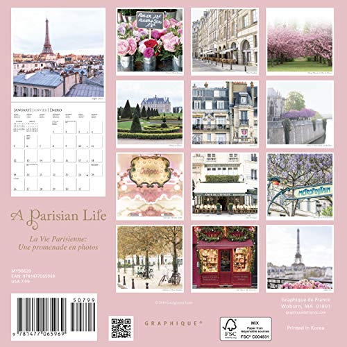 "Graphique A Parisian Life Mini Wall Calendar, 16-Month 2021 Wall Calendar with Historic French Landmark Photographs, 3 Languages & Major Holidays, 2021 Calendar, 7"" x 7"""