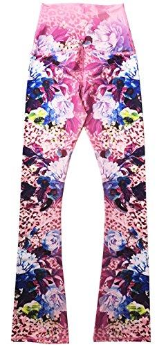 Appleletics Women's Unique Multi-Patterned Printed Maternity Flare Yoga Pants (X-Small, Tropical Aloha Island (Island Fusion)