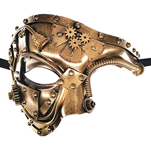 CCUFO Steam Punk Phantom of The Opera Vintage Gold Mechanical Men Venetian Mask for Masquerade/Party/Ball Prom/Mardi Gras/Wedding/Wall Decoration