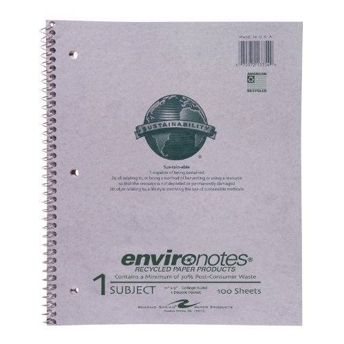 Roaring Spring Recycled Wirebound Notebook, One Subject, 11 x 9 Inches, 100 sheets, College Ruled, Grey Covers