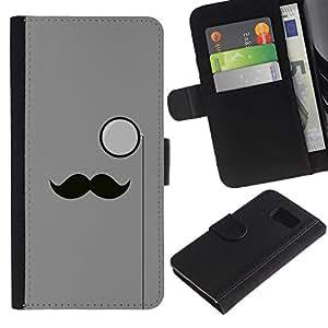 NEECELL GIFT forCITY // Billetera de cuero Caso Cubierta de protección Carcasa / Leather Wallet Case for Samsung Galaxy S6 // Hipster Bigote