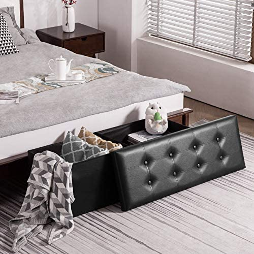 YOUDENOVA 43 Inches Folding Storage Ottoman Bench, Bed End Bench with 120L Large Storage Space, Hallway Footrest Window Padded Seat Storage Chest, Support 550lbs, Faux Leather Black
