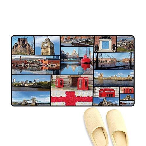 - Bath Mat,England City Red Telephone Booth Clock Tower Bridge River British Flag with Flowers,Floor Mat Pattern,Blue Red,20
