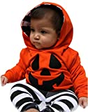 Weant W122 Halloween Costume Baby Boy Gril Infant Pumpkin Hooded Blouse + Stripe Pants Outfits Set (12-18 Months)