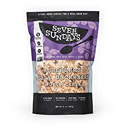 Seven Sundays Muesli - Blueberry Chia Buckwheat {32 Ounce Value Pack} Non-GMO Certified, Gluten Free, Hot or Cold Breakfast Muesli (Blueberry Chia Buckwheat, 32 Oz - 1 Count)