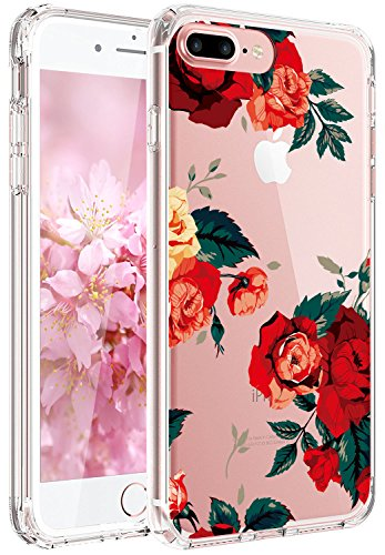 JAHOLAN Cute Girl Floral Design Clear TPU Soft Slim Flexible Silicone Cover Phone Case Compatible with iPhone 7 iPhone 8 - Red Rose