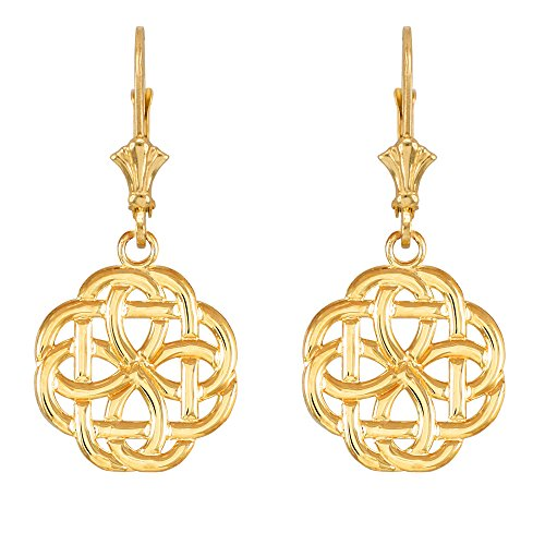 14k Yellow Gold Triquetra Celtic Trinity Dangle Earrings ()