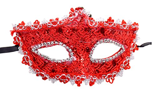 Geek-M Halloween Costume Lace with Rhinestone Venetian Women Masquerade Mask, Red]()