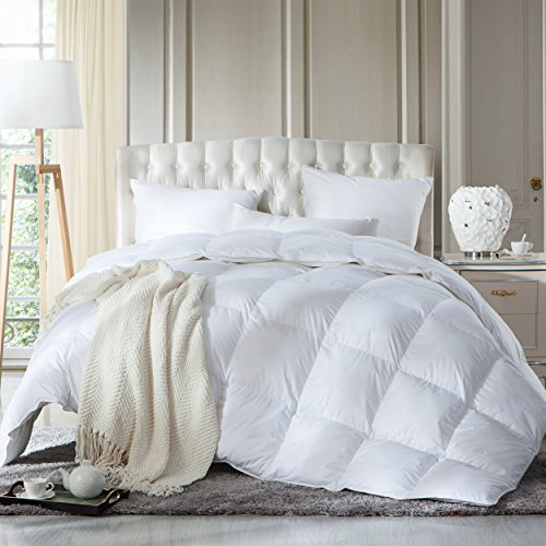LUXURIOUS KING / CALIFORNIA KING Size Siberian GOOSE DOWN Comforter, 1200 Thread Count 100% Egyptian Cotton 750FP, 70 oz, 1200TC, White Solid - Egyptian Cotton Comforter