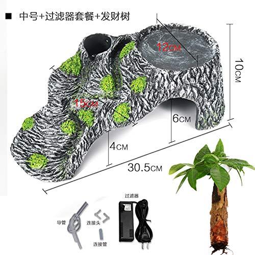 Medium + filter + tree JRTAN&Pet Turtle Terrace Terrace Crawler Turtle Crowd Avoiding Cave House, Large + Filter + Tree