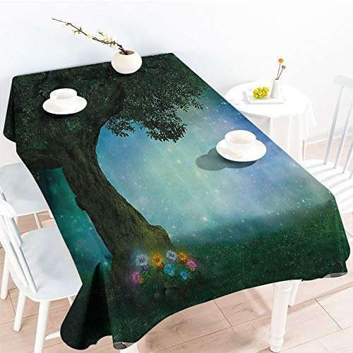 Spillproof Table Fairytale Little Red Riding Hood Forest at Night with Flowers and Stars Imagefor Spring/Summer TableclothMulticolor(50 by 80 Inch Oblong ()